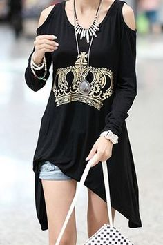 Love Love Love! Black and Crystal  Crown Print Scoop Neck Long Sleeves Cut Out Cotton Casual Style Women's T-Shirt  #Crystal #Crown #Fashion