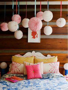 Suzie: Melanie Acevedo Photography - Sweet girl's bedroom with white  pink paper lanterns, ...