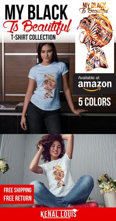 Looking for a creative and unique My Black Is Beautiful tshirt? Look no further, you will love these My Black Is Beautiful t-shirt designs by visual artist Kenal Louis. The artworks is part of an ongoing Afrocentric art series. T-shirts NOW AVAILABLE on Amazon in 5 colors and Teepublic. The Best My Black Is Beautiful gift ideas. black girl gift ideas and more #africanamericanart #blacktshirts #blackisbeautiful #myblackisbeautiful #blackartwork #blackart #afroart Afrocentric Clothing, Unique T Shirt Design, Black Artwork, Afro Art, Art Series, Black Artists, My Black Is Beautiful, Cute Tshirts, Black Models