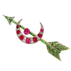 Victorian Diamond Ruby & Demantoid Encrusted Brooch - Methinks the designer, or its intended recipient was a Pi Phi.