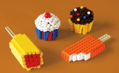 icecream and cupcakes made of Lego