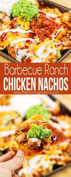 Barbecue Ranch Chicken Nachos on Sheet Pan - perfect for football and tailgating party! Bbq Nachos, Bbq Chicken Nachos, Tacos, Ranch Chicken, Nachos Loaded, Fajita Nachos Recipe, Enchiladas, Burritos, Cheap Easy Meals