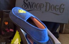 Snoop Dogg also sent her some blue colored house slippers (above) inside of the box