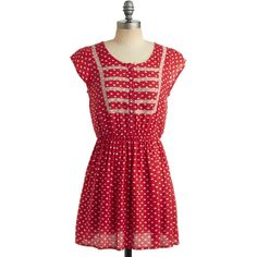 Congenial Cutie Dress ($48) ❤ liked on Polyvore featuring dresses, modcloth, red dress, cutie dresses, elastic waist dress, red stretch dress and viscose dress