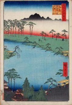 iCanvas Tsunohazu Kumano Junisha zokusho Juniso (Kumano Junisha Shrine, Tsunohazu) Gallery Wrapped Canvas Art Print by Utagawa Hiroshige Image Japon, Japanese Woodcut, Art Chinois, Art Asiatique, Art Japonais, Japanese Prints, Japanese Waves, Japanese Painting, Japan Art