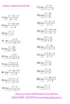 Ejercicios de límites, Matemática, Indeterminación 0/0