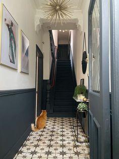 Hall Tiles, Tiled Hallway, Hallway Walls, Hallway Wall Decor, Modern Hallway, Dark Hallway, Long Hallway, Dado Rail Hallway, Victorian Hallway Tiles