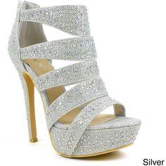 Celeste Women's 'Sheri-01' Rhinestone Cut-out Dress Pumps ($38) ❤ liked on Polyvore featuring shoes, pumps, heels, silver, high heel platform pumps, glitter pumps, dress pumps, sparkly prom shoes and sparkly pumps