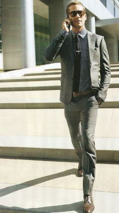 Grey suit with a nice chemise | Costume gris avec une belle chemise <3