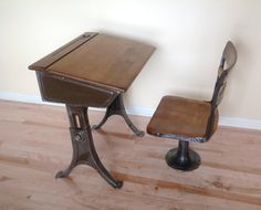 Vintage+school+desk+and+chair+Heywood+Eclipse+1920s+by+MindPawed,+$150.00