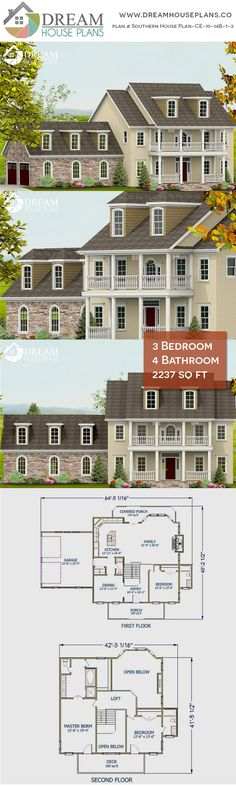 Home Plan with wrap . - House Plans, Home Plan Designs, Floor Plans and Blueprints Simple House Plans, Country House Plans, Dream House Plans, Country Life, House Plans 3 Bedroom, Unique Architecture, Cozy Place, Story House, Southern Homes