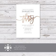 The 44 best invitations images on pinterest 21 birthday 21st printable the samantha birthday invitation milestone party invite copper gold foil gatsby art deco filmwisefo