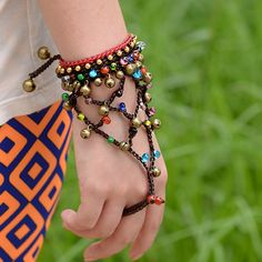 Handmade jewelry charm bangle bohemian wrap bracelet color natural stone copper bell and beads chain ethnic boho vinatge