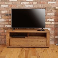 olten small oil oak widescreen tv cabinet with 2 drawers