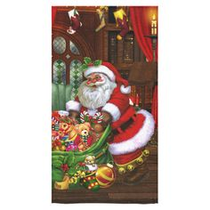 Beach Towel: Santa Claus brings the gifts to you! A cute Santa Claus with a present bag und many gifts in a living room! Fantasy Artwork, Bath Towels, Bring It On, Mermaid, Thankful, Santa, Presents, Christmas Ornaments, Iphone