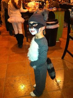 I made a raccoon Halloween costume out of long johns , some fur from hobby lobby attaching a coon tail and ears!! So cute and  unique ! Had many compliments