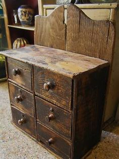 PRIMITIVE PINE WALL BOX **** Sold For $ 250 WITH 4 SMALL … | Pinteres…