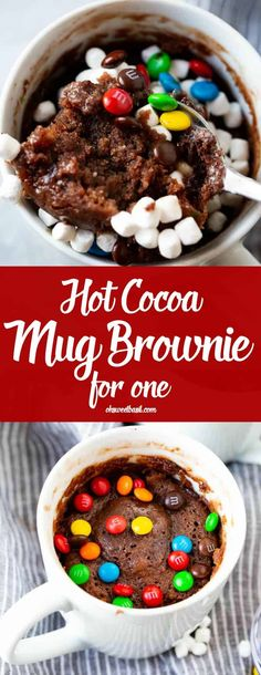 This is an its-so-easy-its-dangerous alert! And so delicious too! This Hot Cocoa Mug Brownie for One literally takes less than 5 minutes to make and its made with things you already have on hand! Kakao Brownies, Hot Chocolate Brownies, Chocolate Mug Cakes, Chocolate Recipes, Mug Recipes, Brownie Recipes, Dessert Recipes, Sweet Recipes, Cake Recipes