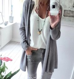Love the material and the look of this soft grey cardigan and simple shell underneath. Also like the grey distressed skinnies