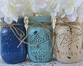 Set of 4 Pint Mason Jars Ball jars Painted par TheShabbyChicWedding