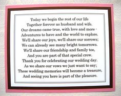 8x10 Flat Pink and Brown Thank You for Celebrating Our Wedding Poem Sign - READY TO SHIP. $6.50, via Etsy.