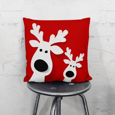 Reindeers on your couch? It must be Christmas. This throw pillow is the fun decoration to complete your living room this Christmas.   ★ CUSTOMER SATISFACTION GUARANTEE - BUY WITH CONFIDENCE ★ We stand behind our pillows and want you to be 100% satisfied with them.  Every pillow we sell comes with our Customer Satisfaction Guarantee. If you arent 100% satisfied with your purchase, we're happy to accept the return of your unused pillow for a full refund within 30 days of your purchase - No…