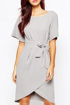 OL Style Jewel Neck Short Sleeve Asymmetrical Solid Color Dress For Women