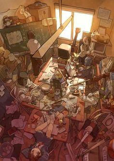 Perspectiveeeeee Photo Manga, Animes Manga, Anime Group Of Friends, Fantasy Art, Messy Room, Clannad, Jim Lee, Psylocke, Roommates