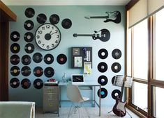 I love all of the vinyl records on the wall!