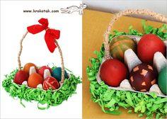 Esta ideia achei também no site Krokotak . Ela é muito bacana, vamos aprender a fazer uma cesta de páscoa a partir da reciclagem de caixa...
