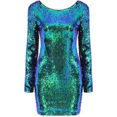 Yoins Yoins Sequin Dress (37 CAD) ❤ liked on Polyvore featuring dresses, green dress, bodycon cocktail dress, long sleeve body con dress, green bodycon dress et green high low dress