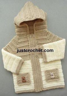 New Ideas Crochet Baby Boy Sweater Free Pattern Hooded Jacket Crochet Baby Sweaters, Crochet Hoodie, Crochet Baby Clothes, Crochet Jacket, Baby Knitting, Crochet Hats, Free Crochet, Crochet Cardigan, Crochet Baby Blanket Beginner