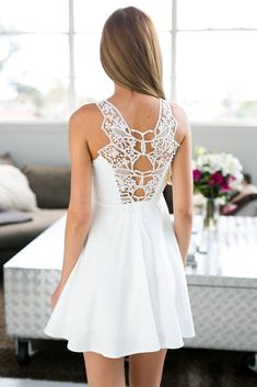 White Open Back Crochet Back Skater Dress #USTrendy www.ustrendy.com