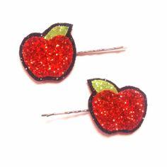 Kitsch Glittered Apple Bobby Pins