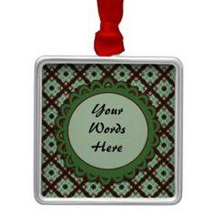 Pretty green brown crisscross pattern ornament