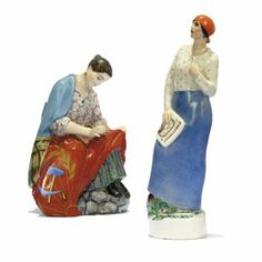 TWO SOVIET PORCELAIN FIGURES  STATE PORCELAIN FACTORY, HAMMER & SICKLE MARKS DATED 1923 AND 1929  After models by Natalia Danko