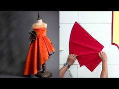 Asymmetric Gown for kid (How to sew) Girls Frock Design, Baby Dress Design, Kids Frocks Design, Baby Frocks Designs, Little Girls Fancy Dresses, Girls Dresses Sewing, Dresses Kids Girl, Kids Dress Wear, Kids Gown