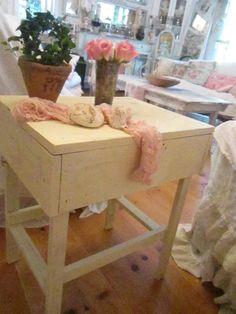 Chippy cream Shabby chic Vintage farm side table coffee table