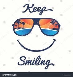 Smile sunglasses tropical summer typography, t-shirt graphics, vectors Shirt Print Design, Tee Shirt Designs, Surf Vintage, Summer Typography, Beach Illustration, Smile Word, Logo Desing, Kids Graphics, Smile Design