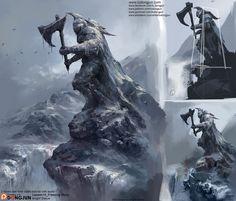 Knight Statue, Dongjun Lu on ArtStation at https://www.artstation.com/artwork/AE405