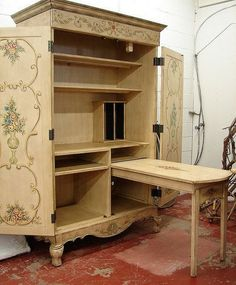 Craft Cabinet With Drop Down Table French Country Tole Paint Office Computer Sewing Secretary Desk Plans Craft Armoire, Craft Cabinet, Sewing Cabinet, Cabinet Ideas, Jewelry Armoire, Jewelry Box, Repurposed Furniture, Painted Furniture, Diy Furniture