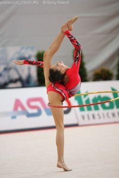 Jana Berezko Marggrander performing hoop in rhythmic gymnastics.