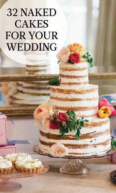 32 Naked Cakes for Your Wedding | Martha Stewart Weddings - Bakers these days are holding back frosting from wedding cakes for an exposed look that is popular with couples looking for a traditional wedding cake alternative. But is this frosting-free look right for you? These naked cakes will surely convince you.