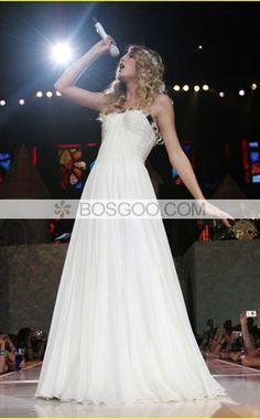 A-line Strapless Floor-length Chiffon Ruffled Beaded Prom Dresses