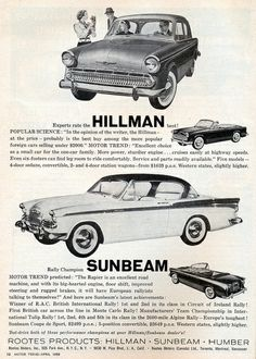 1959 Rootes Hillman 4 Door Sedan, Sunbeam 2 door Hardtop and Convertible by coconv,. Vintage Advertisements, Vintage Ads, Logo Vintage, Classic Chevy Trucks, Classic Cars, New Luxury Cars, Ad Car, Car Logos, Car Advertising