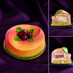 """Marble"" (entremet version): cherry mousse; peach mousse; peach jelly; caramelized mousse with peach; caramelized sponge cake with white chocolate."