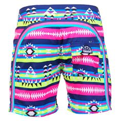 BLUE LONG SWIM SHORTS WITH NAVAJO PRINT AND RAINBOW BANDS Blue polyester low rise long Boardshorts with Navajo print and featuring the three classic rainbow bands on the back. Fixed waistband with adjustable drawstring and Velcro closure. Internal net. Back Velcro pocket. Sundek logo on the back. COMPOSITION: 100% NYLON. Model wears size 32 he is 189 cm tall and weighs 86 Kg.