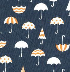 Japanese Fabric - Deco Umbrellas on Blue - Half Yard