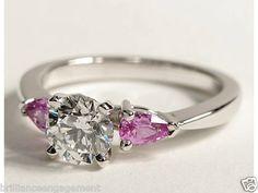 1.50 CT ROUND DIAMOND & PINK SAPPHIRE PEAR SHAPE ENGAGEMENT RING