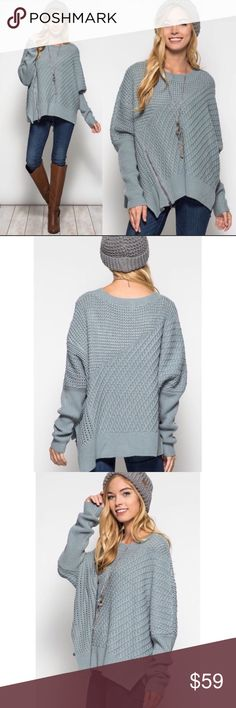 "JUST IN ❣️ Slate Oversized Sweater with  Zipper What a fabulous sweater! This oversized chunky knit sweater features dolman sleeves and an asymmetrical side zipper. Wear with skinny jeans, jeggings or leggings. Can be worn slightly off the shoulder or on.   Shoulder to hem length: 28""  65% Cotton 35% Acrylic   Price is firm unless bundled. No trading. Sweaters"